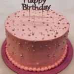 Τούρτα με μπιλάκια και ασημένιο Happy Birthday